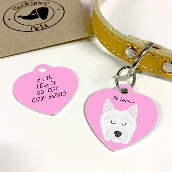 Pink heart-shape dog tag with white westie and words 'If Lost...'