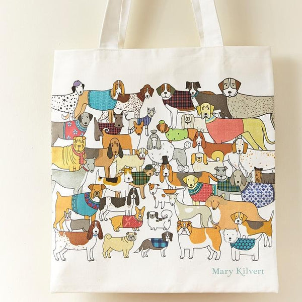 White tote bag with different breeds of dressed-up dogs