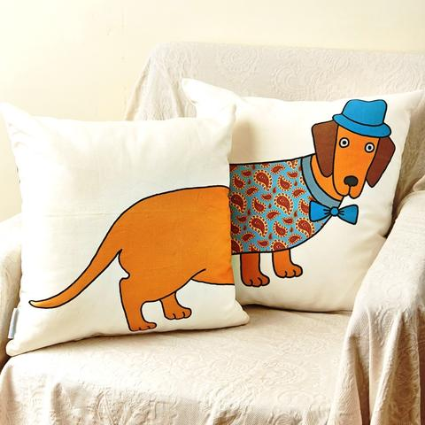 Mary Kilvert Dachshund print cushion