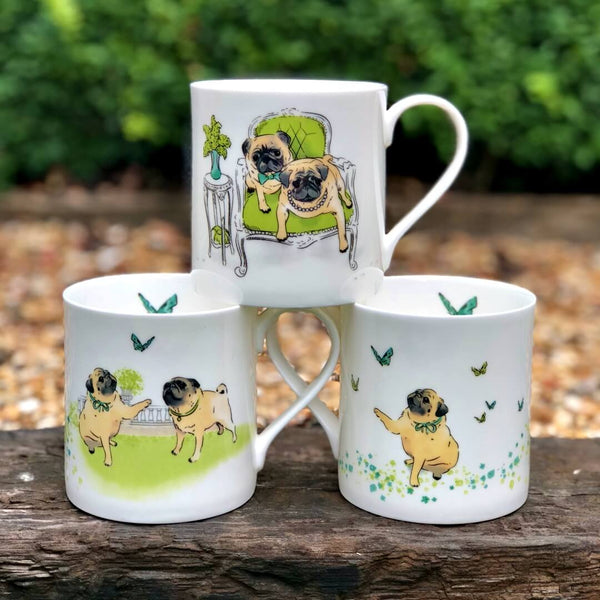 Pug mugs by Walter & Florence