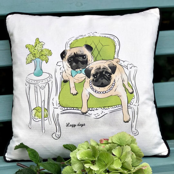 Pug inspired dog cushion