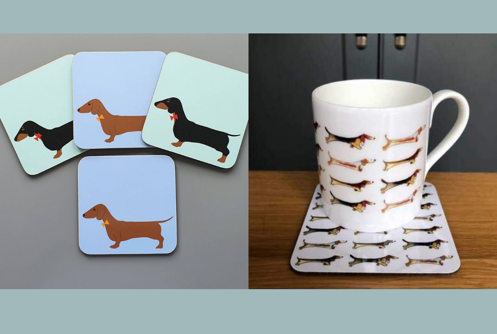 Dachshund coaster and mug