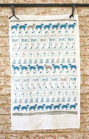 Katy Ferrari dog print tea towel