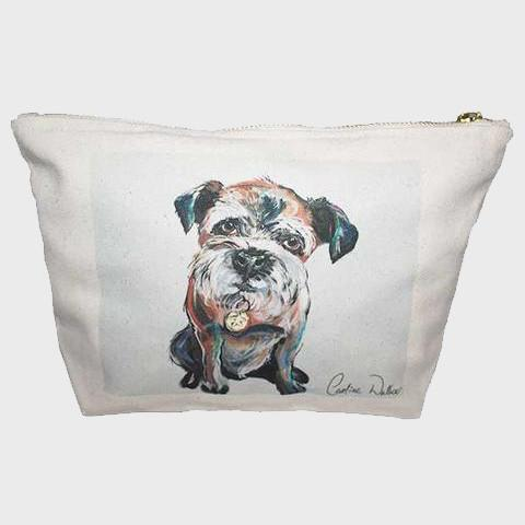 Dog print makeup bag