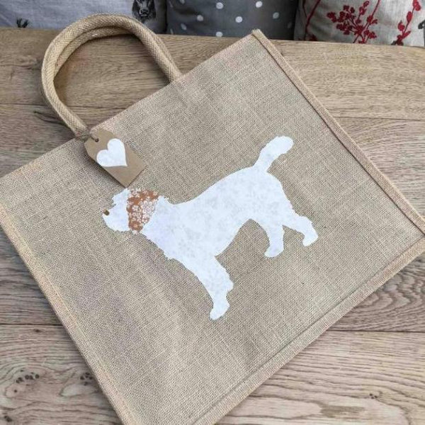 Brown tote bag with white and brown fabric cockapoo