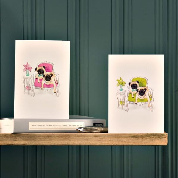 Note cards featuring Pugs