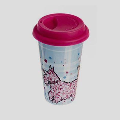 Pink and Blue thermal travel mug with pink Scottie dog