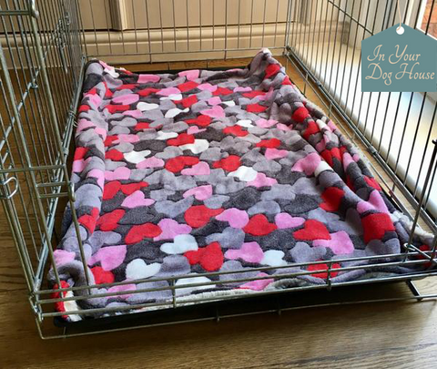 dog blanket red and grey heart