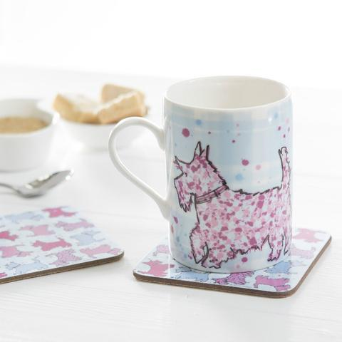 Scottie print mug and coasters