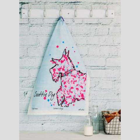 scottie print tea towel