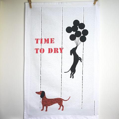 London pooch Dachshund print tea towel