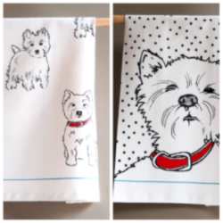 Two tea towels with westies with red collars