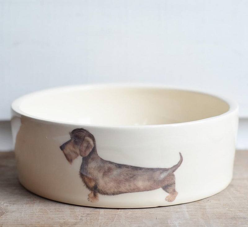 Ceramic Dog Bowl Wire Haired Dachshund Dog Bowl