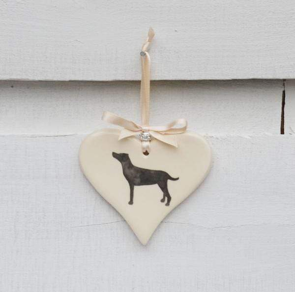 Ceramics Standing Black Labrador Ceramic Hearts (Multiple Breeds Available)