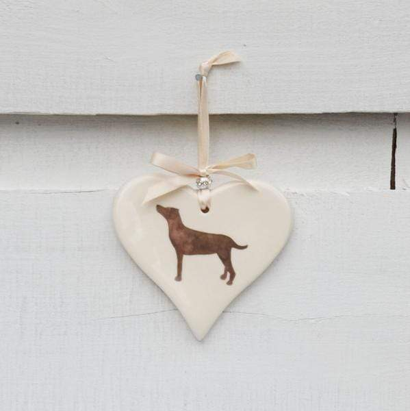 Ceramics Standing Brown Labrador Ceramic Hearts (Multiple Breeds Available)
