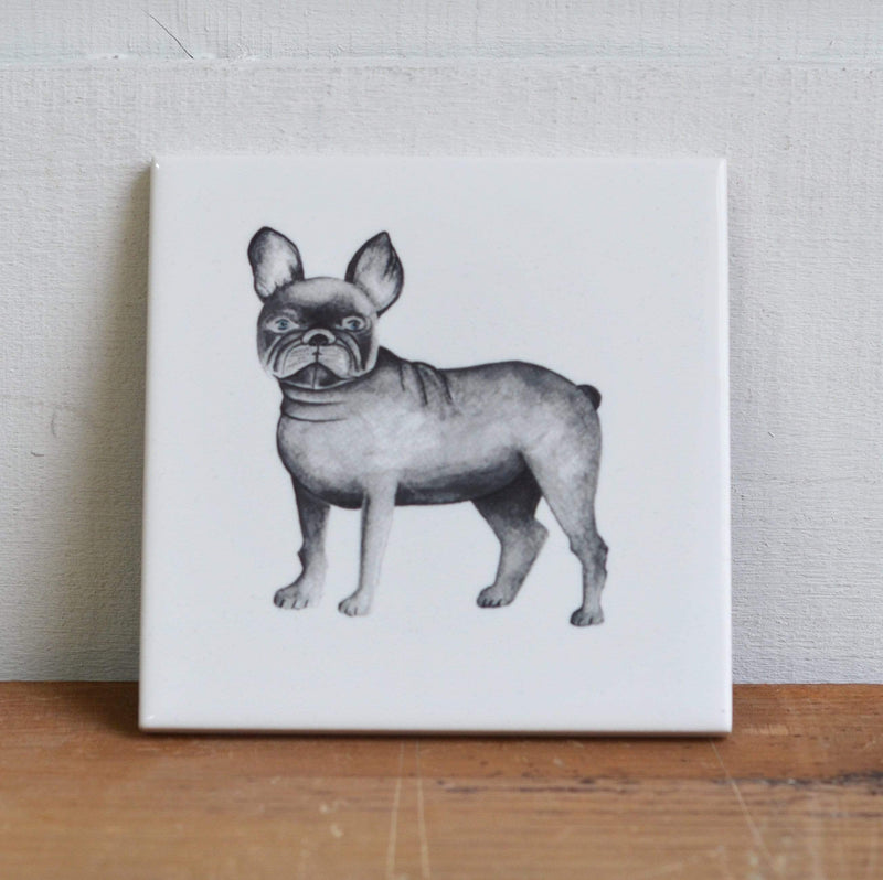Coasters Coaster alone Grey French Bulldog Coaster