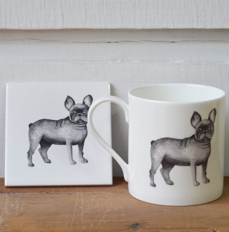 Coasters With matching mug Grey French Bulldog Coaster