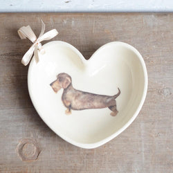Heart shaped ceramic bowl Heart Shaped Wire Haired Dachshund Bowl