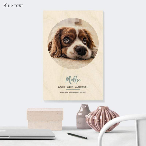 Dog Photo Portrait Wooden Print