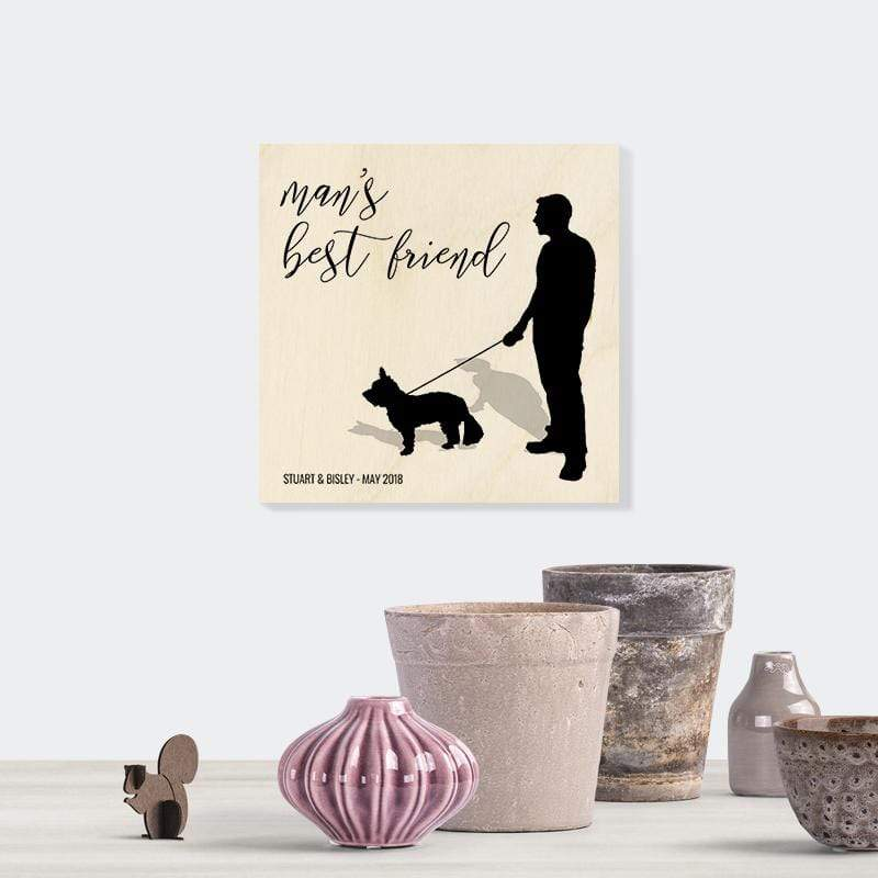 Me and My Dog Silhouette Wooden Print