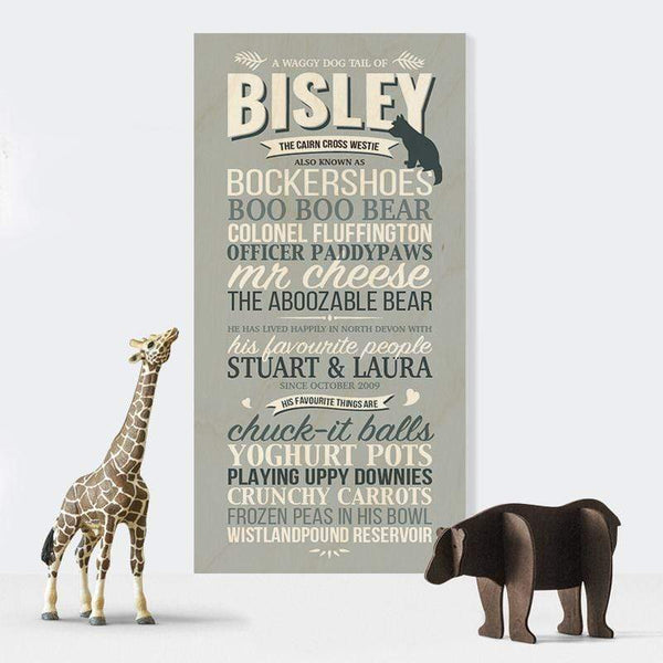 Personalised Dog Story Wooden Print