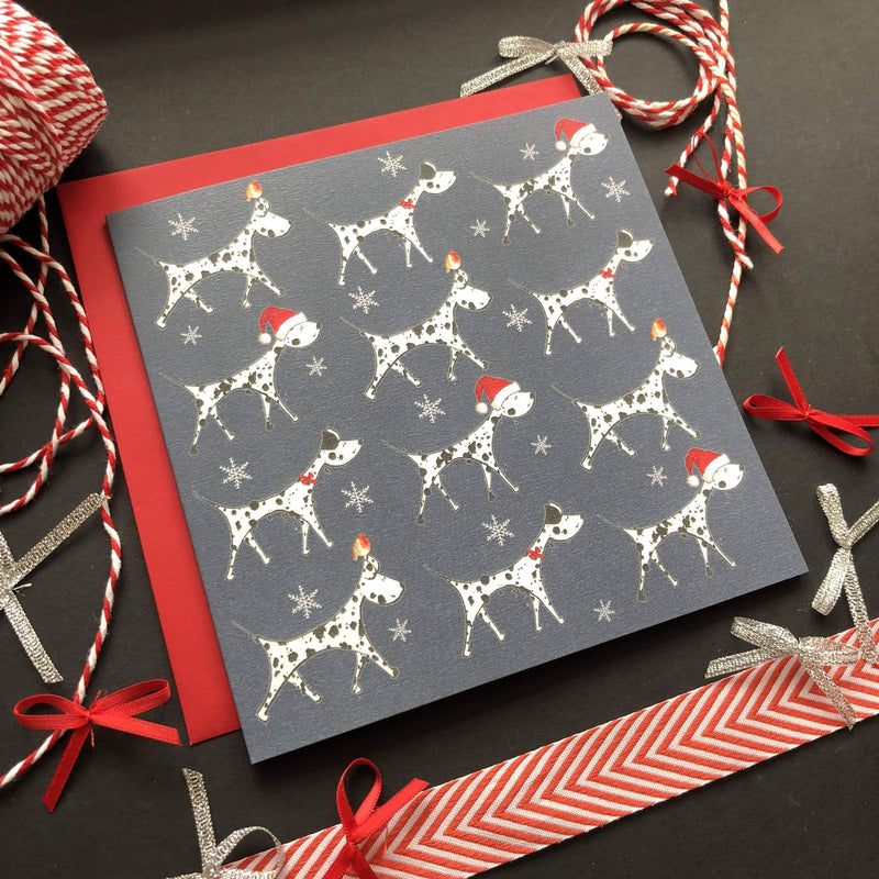 Greeting Card Spotty Christmas Dogs