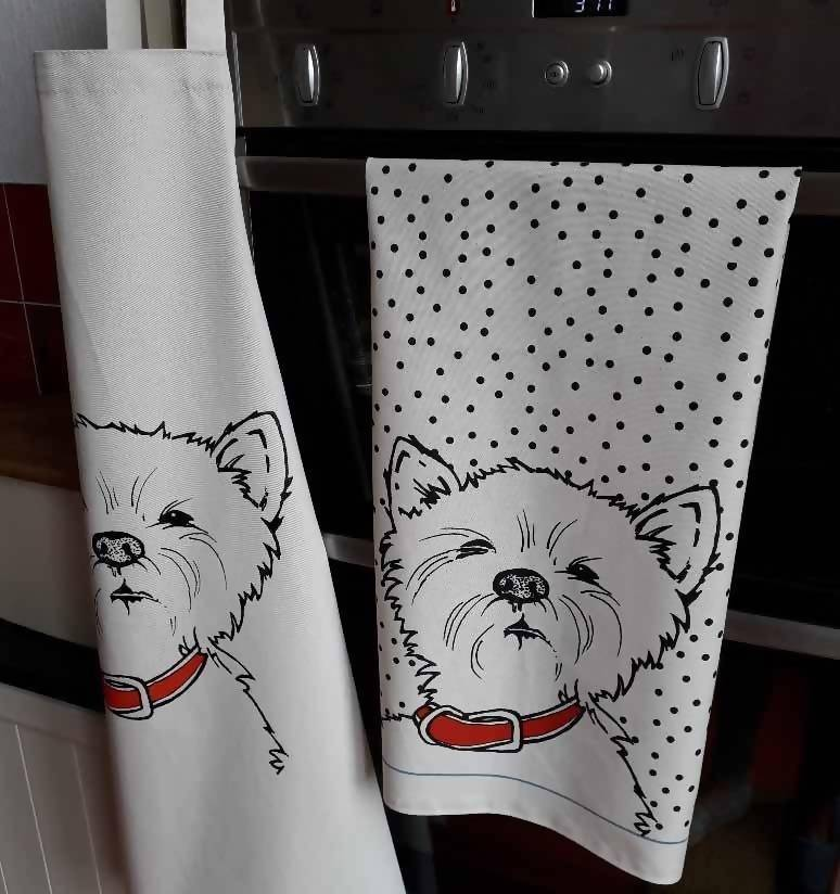 Kitchenware Set Westie Apron and Tea Towel Set