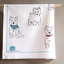 Tea Towel Westie Tea Towel Featuring 7 West Highland Terriers