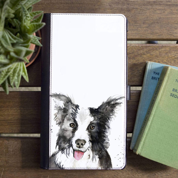 Phone Case Collie Dog Faux Leather Flip Phone Case