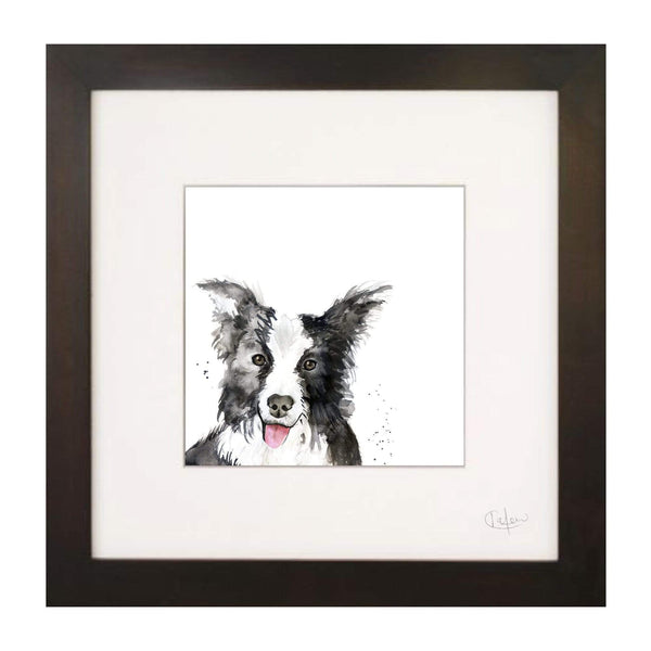 Print Framed in Black Border Collie Dog Illustration Print