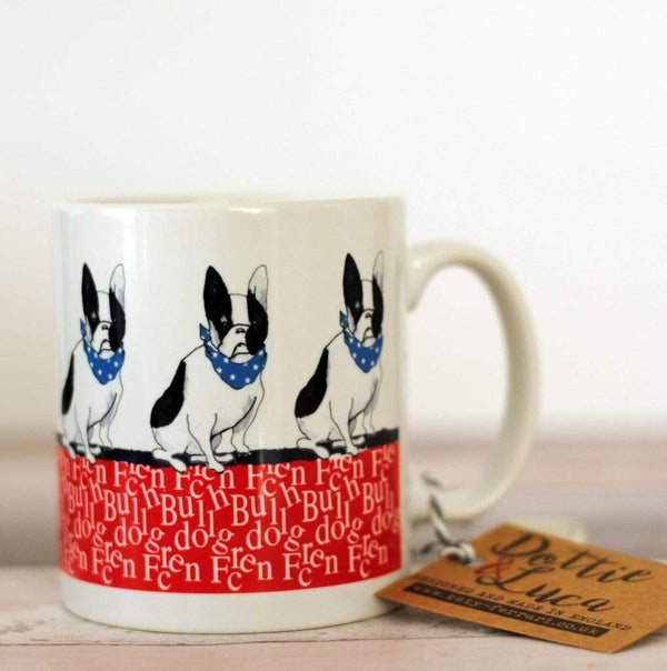 Mug Red / Black White Dog French Bulldogs Ceramic Mug