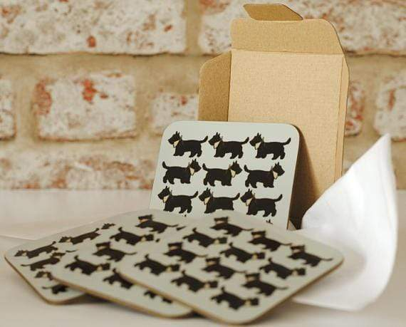 Mug Set of Coasters Scottie Dog Mug and Coaster Collection