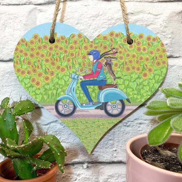 DECORATION DACHSHUND ON MOPED HANGING HEART