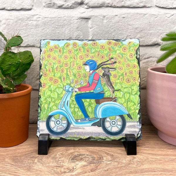 DECORATION DACHSHUND ON MOPED SLATE