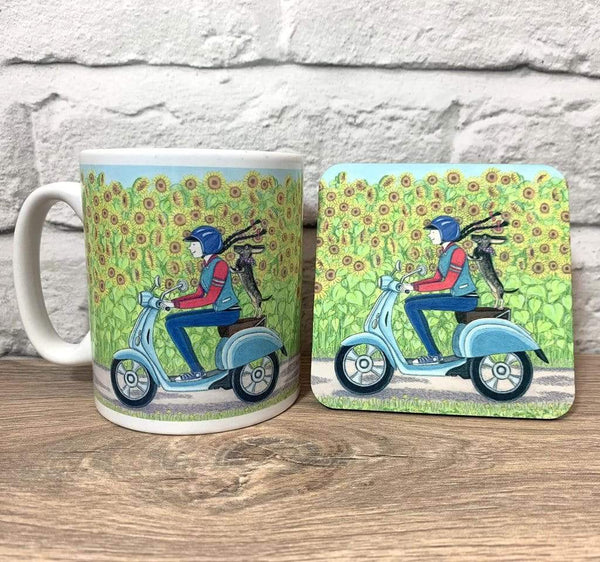 GIFT SET DACHSHUND ON MOPED MUG AND COASTER GIFT SET