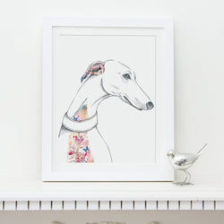 Prints Floral Dogs Greyhound Fine Art Print