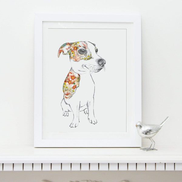 Prints Floral Dogs Jack Russell Fine Art Print