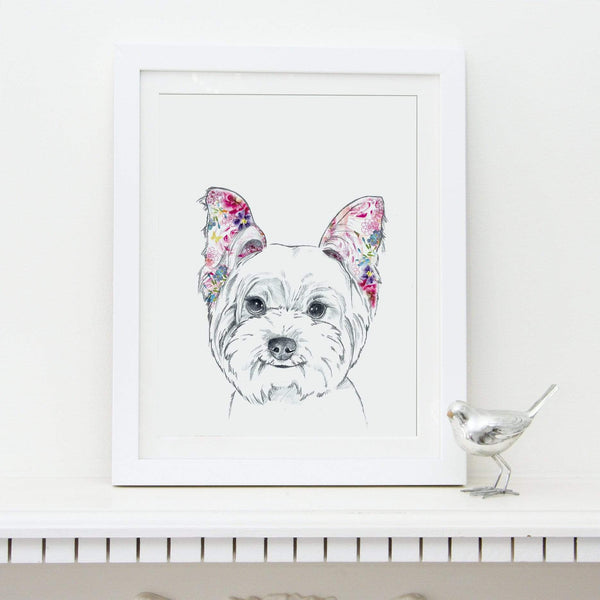 Prints Floral Dogs West Highland Terrier Fine Art Print