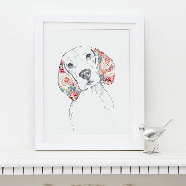 Prints Lola Design Floral Dogs Beagle Fine Art Print