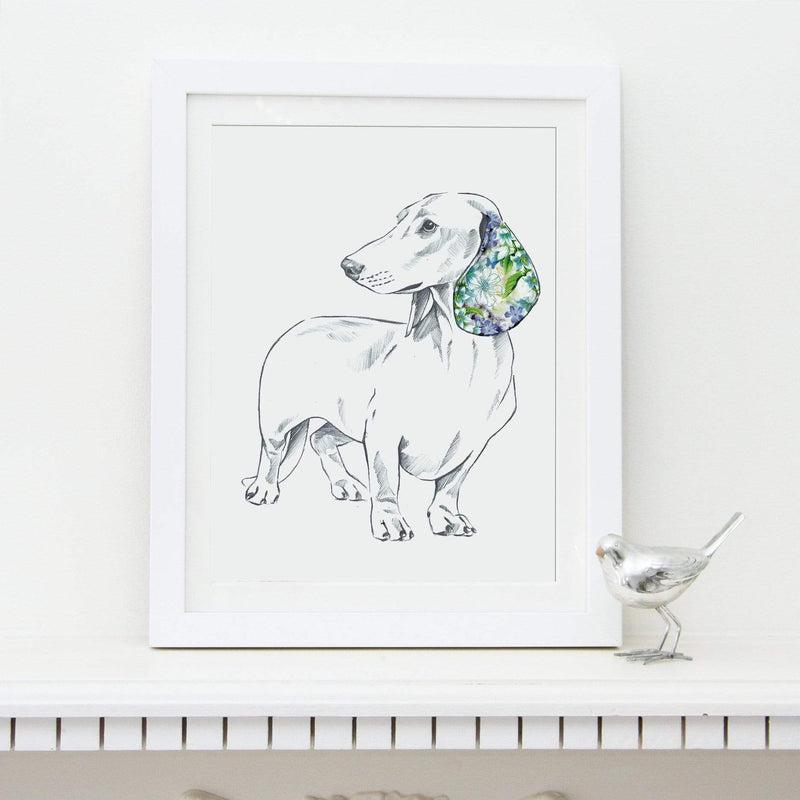 Prints Lola Design Floral Dogs Dachshund Fine Art Print