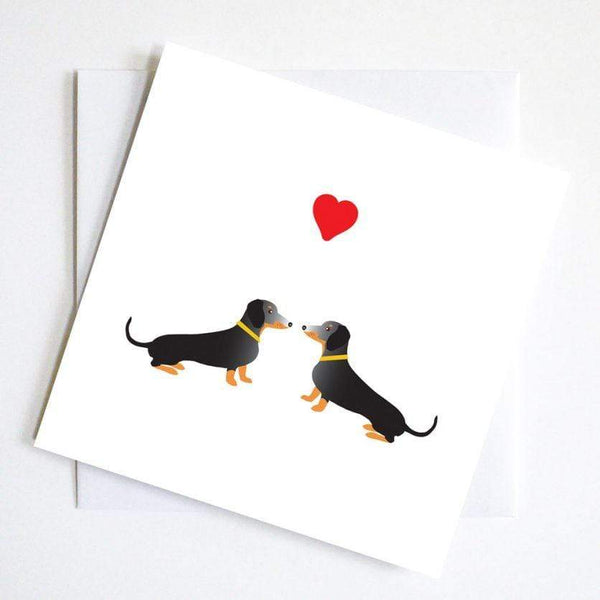greetings card Dachshund and Hearts Card