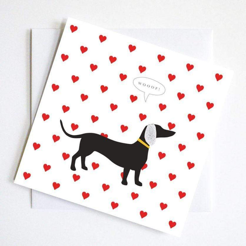 greetings card WOOF HEART RED