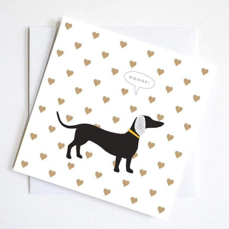 greetings card WOOF HEARTS GOLD