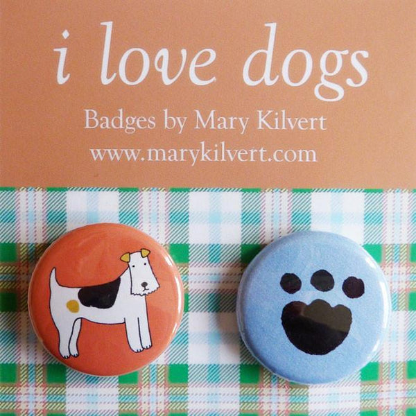 Badges Mary Kilvert I Love Dogs Badges Fox Terrier and Paw Print