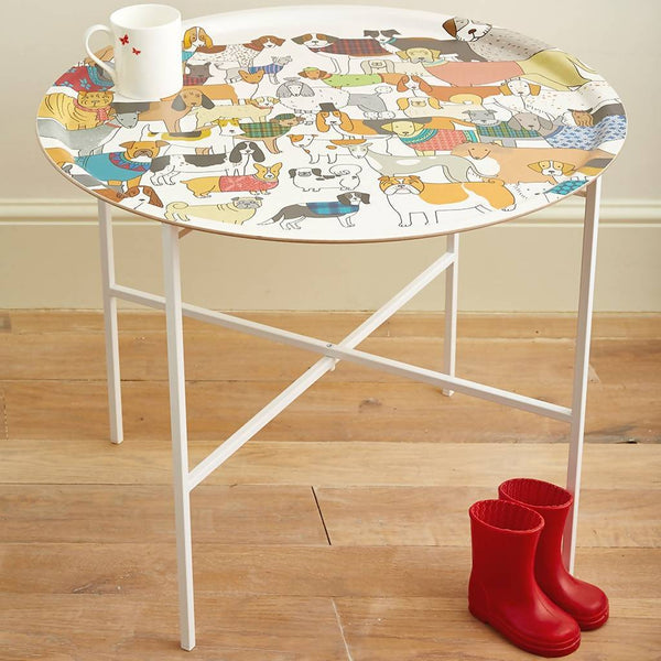 Tray Large Round Dog Themed Tray Table