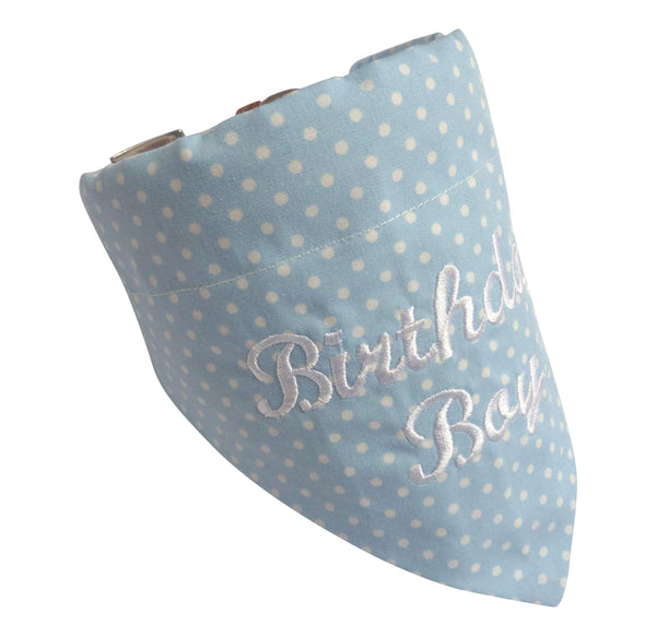 Dog Bandana Pale Blue Birthday Boy Dog Bandana