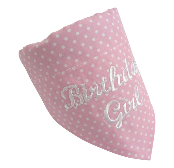 Dog Bandana Pale Pink Birthday Girl Dog Bandana