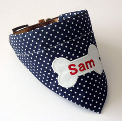 Dog Bandana Personalised Dog Bandana Navy & White Polka Dot