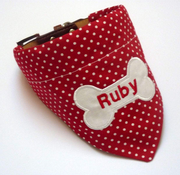 Dog Bandana Personalised Dog Bandana Red & White Polka Dot