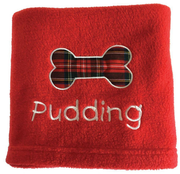 Dog Blanket Personalised Dog Blanket with Red Tartan Bone